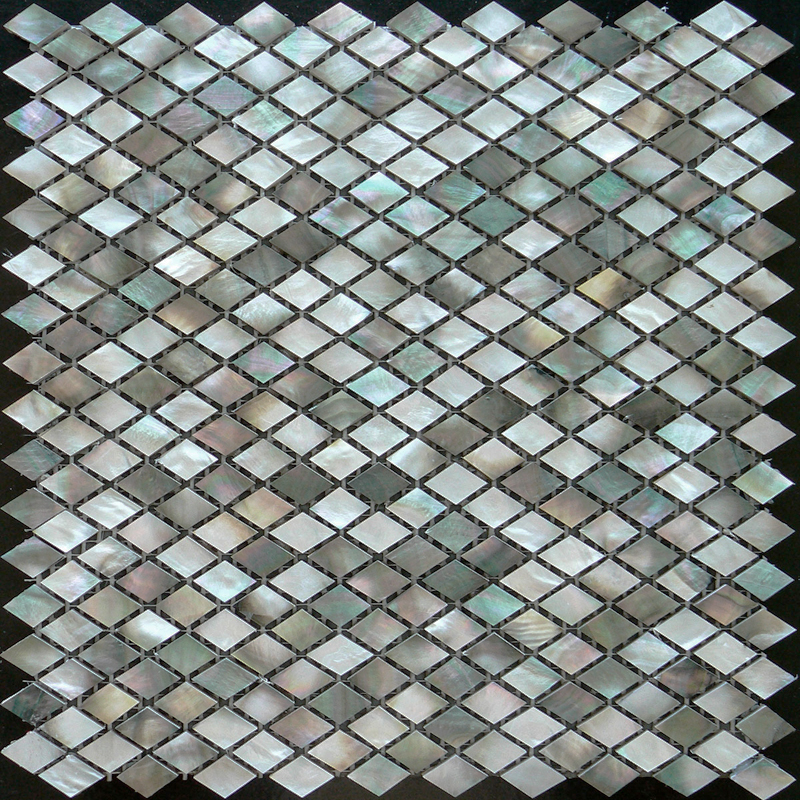 Black Mother of Pearl Shell Mosaic Sheet, Diamond 14x24mm, 1 tile